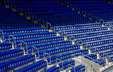 empty blue stadium seats