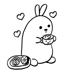 High quality original cute bunny with coffee and sweets