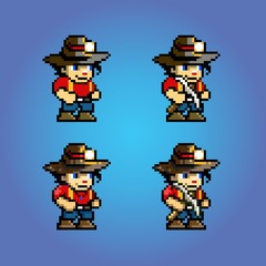 pixel art adventure game character, video game layer vector illustration