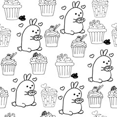 High quality original cute bunny seamless pattern with coffee an