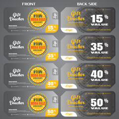 Vector set of vouchers to promote sales with labels and various discounts.