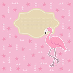 Birthday, baby shower greeting card, invitation. Flamingo bird, abtract geometric background with triangles and stars. Vector