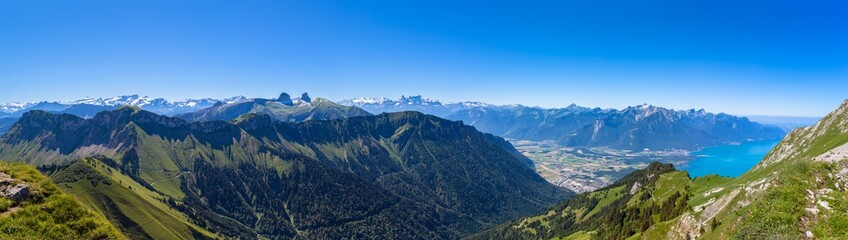Panorama view of Lake Geneva from Rochers-de-Naye