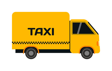 Taxi yellow van car isolated on white background. Vector yellow taxi truck van and cab transport traffic urban yellow taxi. Road street service yellow taxi van truck car isolated