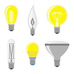 Cartoon lamps light bulb vector illustration.