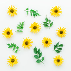 Yellow flowers. Flat lay. On white background