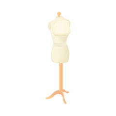Sewing mannequin icon in cartoon style isolated on white background. Trying on clothes symbol