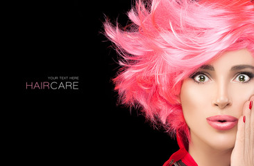 Foto op Textielframe Kapsalon Fashion model girl with stylish dyed pink hair