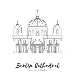 Germany, Berlin.  European landmark. Icon architectural monument and world tourist attraction. Berlin Cathedral in black thin line isolated on white background. Black and white vector illustration.
