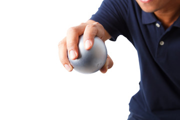 Man and petanque ball in hand