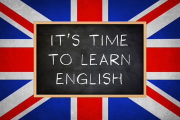 It is time to learn english - chalkboard concept