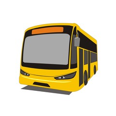 Illustration intercity bus in the state of Selangor Kuala Lumpur, Malaysia, isolated on white background
