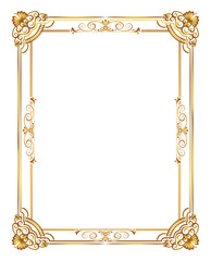 gold decorative horizontal floral elements, corners, borders, frame, crown. Page decoration.