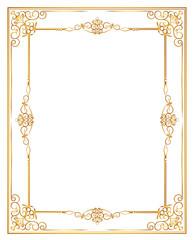 gold decorative horizontal floral elements, corners, borders, frame, crown. Page decoration.