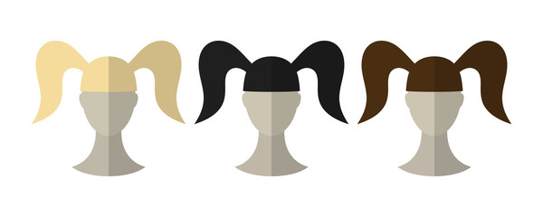 Flat icon hairstyles. Blonde, brunette. Different color hair wigs.