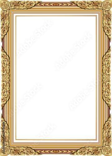 Gold Photo Frame With Corner Line Floral For Picture Vector Design