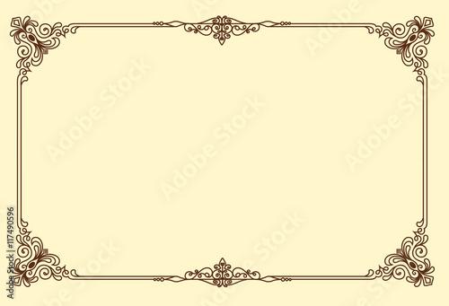 382df0c93013 Vintage frame retro decoration corner template design.Gold photo frame with  corner line floral for picture