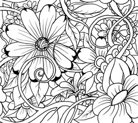 Vector set nature abstract elements in doodle style. Floral, nature, ornate, decorative, tribal compositions. Black and white monochrome background. Zentangle hand drawn coloring book page