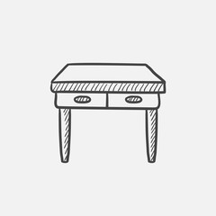 Table with drawers sketch icon.