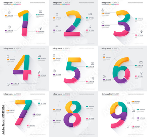 number infographic character design template vector stock stock