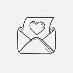 Envelope mail with heart sketch icon.