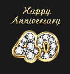 40 years anniversary birthday in gold and diamonds