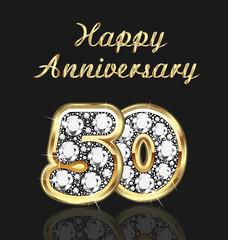 50 years anniversary birthday in gold and diamonds