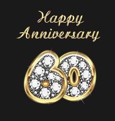 60 years anniversary birthday in gold and diamonds