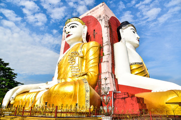Giant Buddha Statues at Kyaik Pun Paya in Bago
