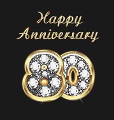 80 years anniversary birthday in gold and diamonds