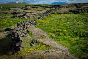 Mur en pierre d'Islande
