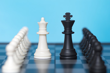 Chess game and blue background
