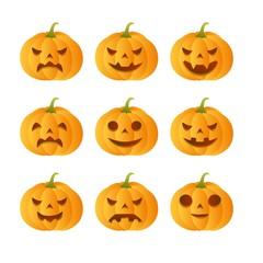 Set of 9 carved pumpkins