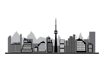 Buildings silhouette cityscape.