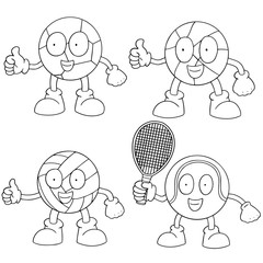 vector set of sport ball cartoon