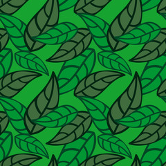 Seamless pattern with falling leaves. Vector clip art.