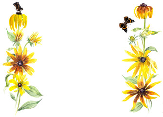 Frame from rudbeckia and butterflies. Yellow flowers background. Watercolor hand drawn illustration