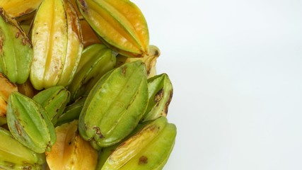 Star fruit in natural conditions, bunch of starfruit and white space