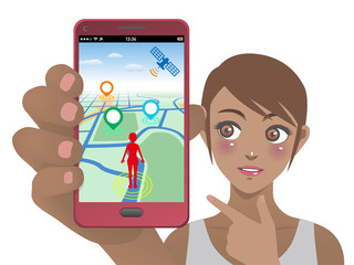 smart phone game application using location information, young woman holding smart phone and pointing screen, vector illustration