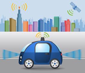 autonomous concept car that communicates with satellite and wireless communication antenna, vector illustration