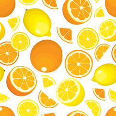 Seamless pattern of citrus fruits - lemon and orange, whole products and slices on white background. Vector illustration in colour. Design cover.