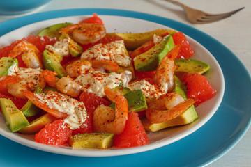 Salad - a mix of avocado, shrimp and grapefruit.
