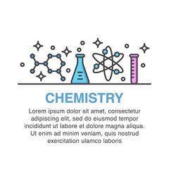 Chemistry banner design with test tubes icons.