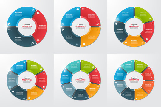 Set of pie chart circle infographic templates with 3-8 options. Business concept. Vector illustration.
