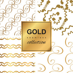 Gold wave seamless pattern collection. Hand drawn backgrounds.