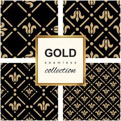 Golden pattern on dark damask background