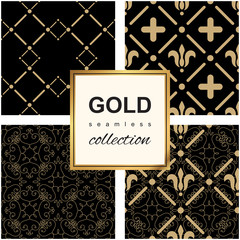 Golden pattern on dark damask background