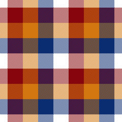 Red orange blue white check seamless pattern