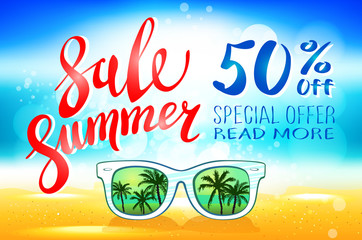 Summer sale marketing template with copy space. EPS10 vector