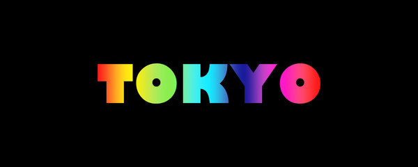 Word Tokyo with colorful letters